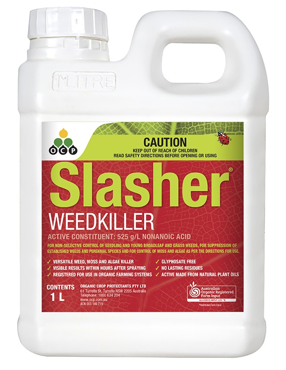 Slasher Weedkiller is very versatile and will control a broad range of weeds as well as moss, algae and lichen. You can spray it anywhere around the house and garden for effective organic control. It works on contact and rapidly burns and desiccates plants so you'll see results within a few hours.  Slasher Weedkiller is made from plant oils which have been turned into a substance called nonanoic acid. Nonanoic acid is also known as pelargonic acid and occurs naturally in plants (including pelgaroniums which explains the alternative name)