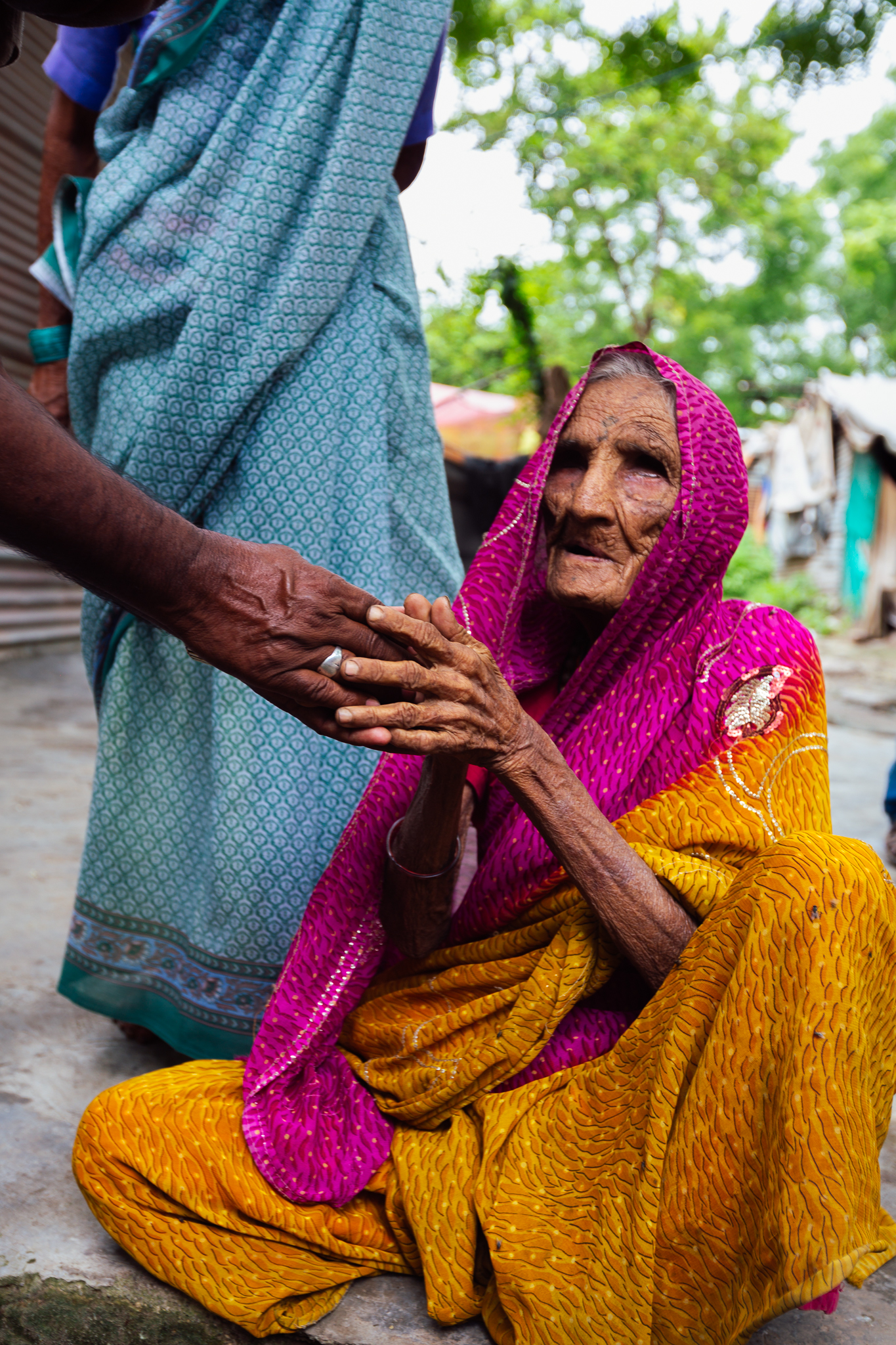 An older blind lady with leprosy at the leper colony I visited
