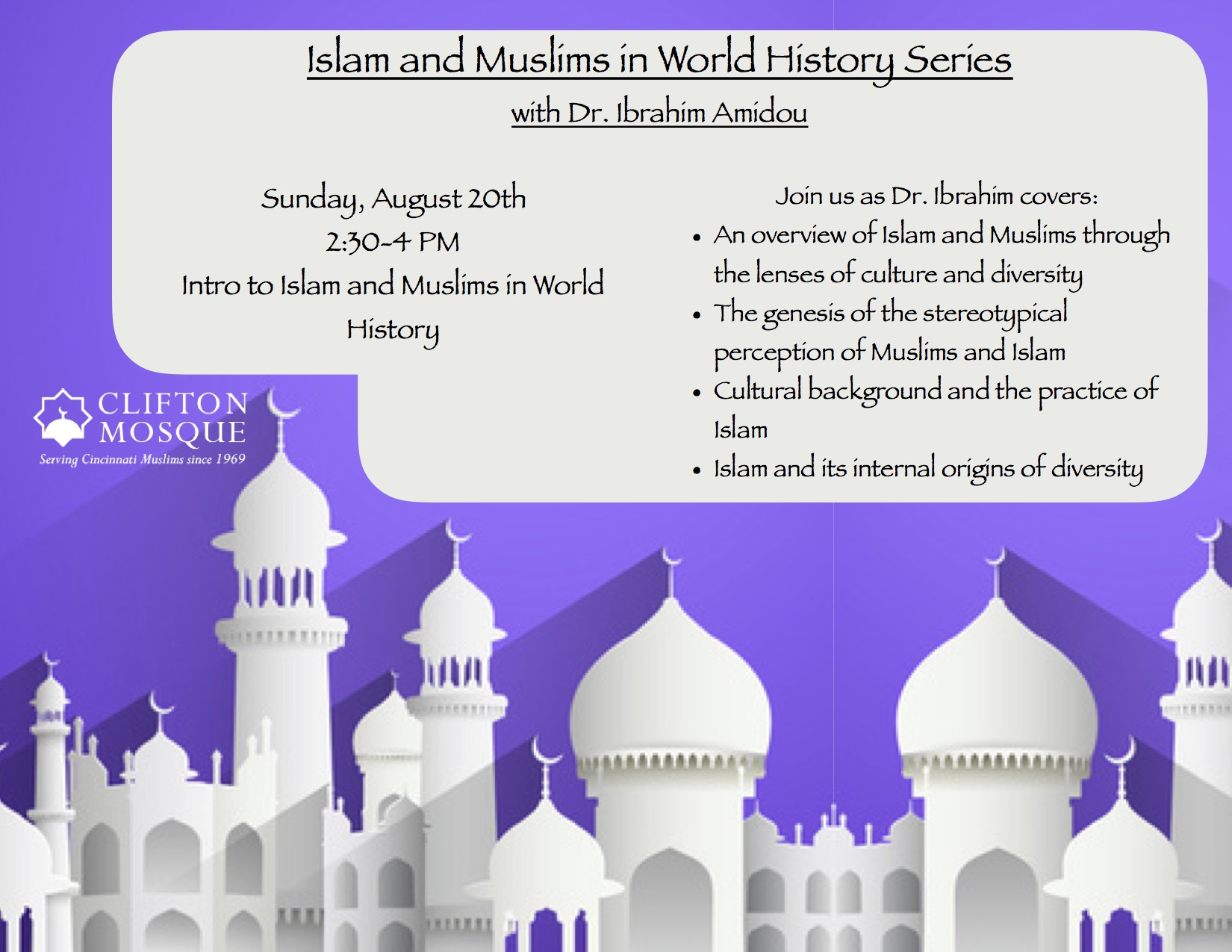 Join us as Brother Ibrahim Amidou teaches the introduction to the Series for Muslims and Islam in World History.