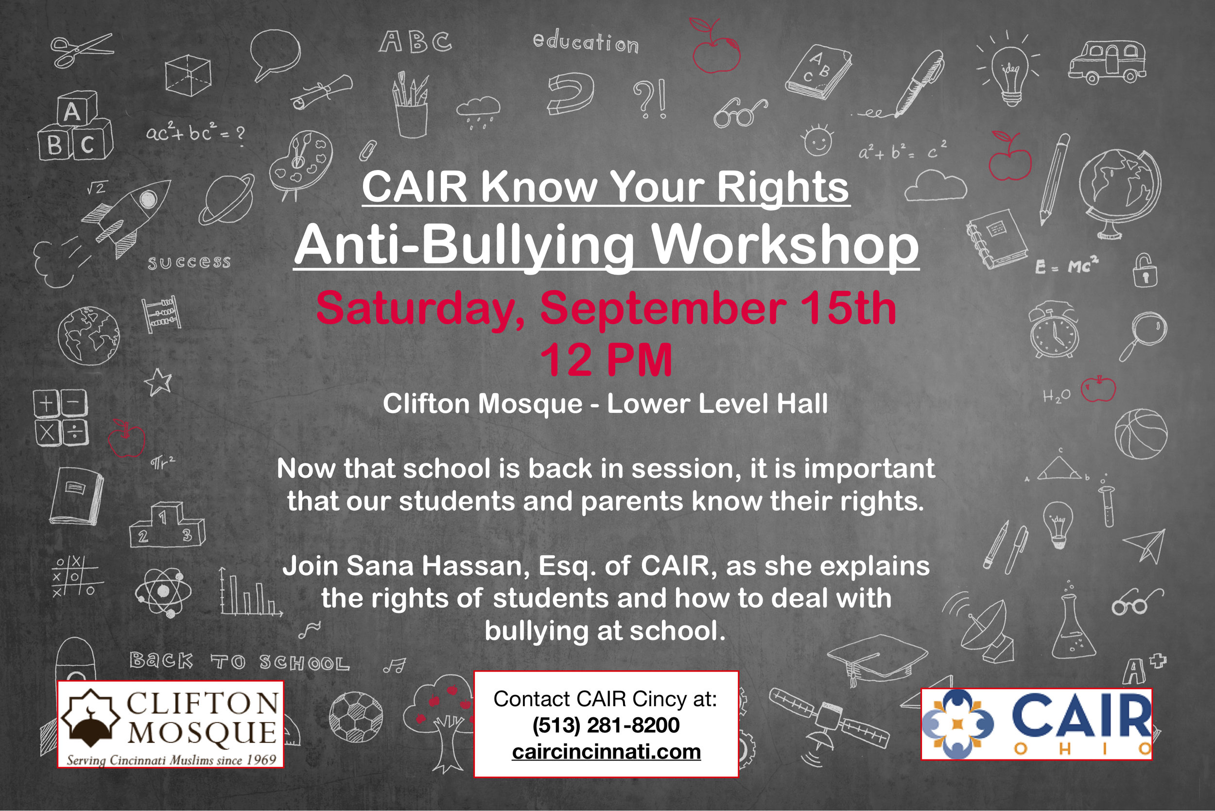 CAIR is offering an Anti-bullying workshop for youth and their parents.  This is happening on September 15th at 12:00 PM, during Saturday School.    All are welcome to join this workshop with Sana Hassan, Eqs of CAIR