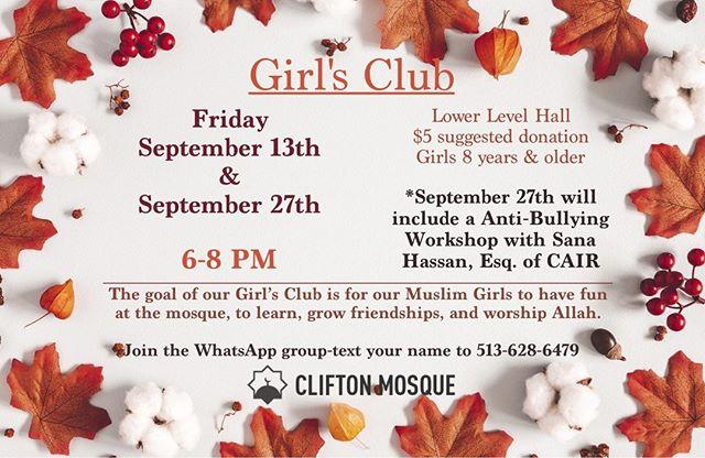Join us tomorrow for Girl's Club #inshaAllah #Community #Sisterhood