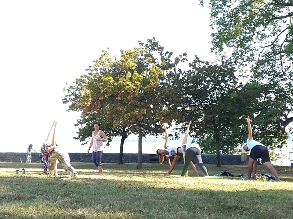 Yoga by the lake, in Geneva filming Bryan Kest's Brahma Flow