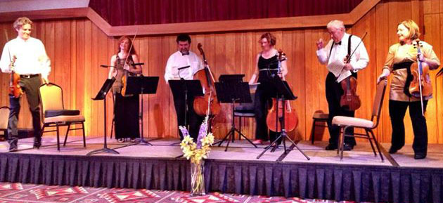 Tim Fain, Denise Dillenbeck, Armen Ksajikian, Katherine Schultz, Ron Arron and Dr. Ward performing a work by Johannes Brahms at a recent chamber music festival.