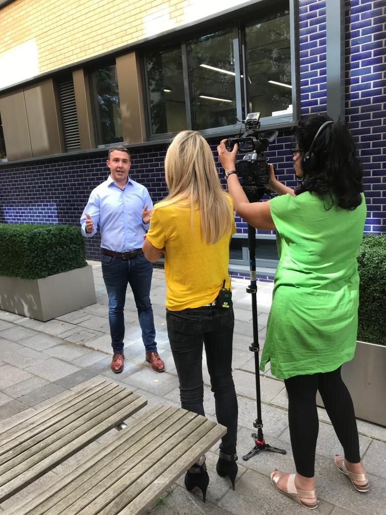 John Lanyon, Founder of KareInn being interviewed by BBC Clicks Lara Lewington