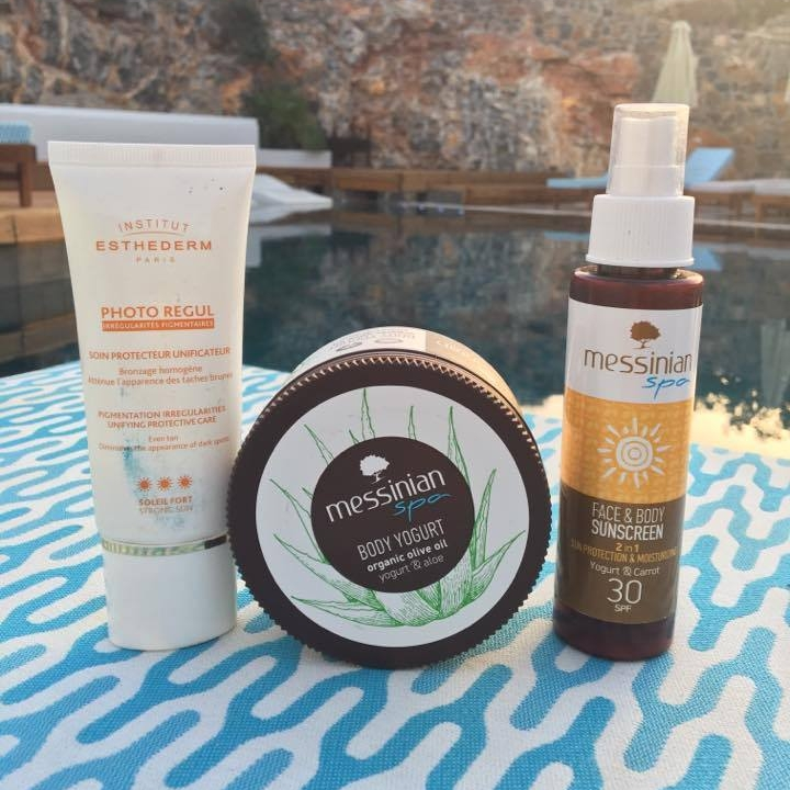 My summer favorite sunscreens and the  MESSINIAN SPA BODY YOGURT .