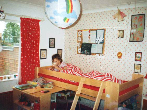 My red and white bedroom, c.1989 (minus my favourite duvet, though I also loved the stripes!)