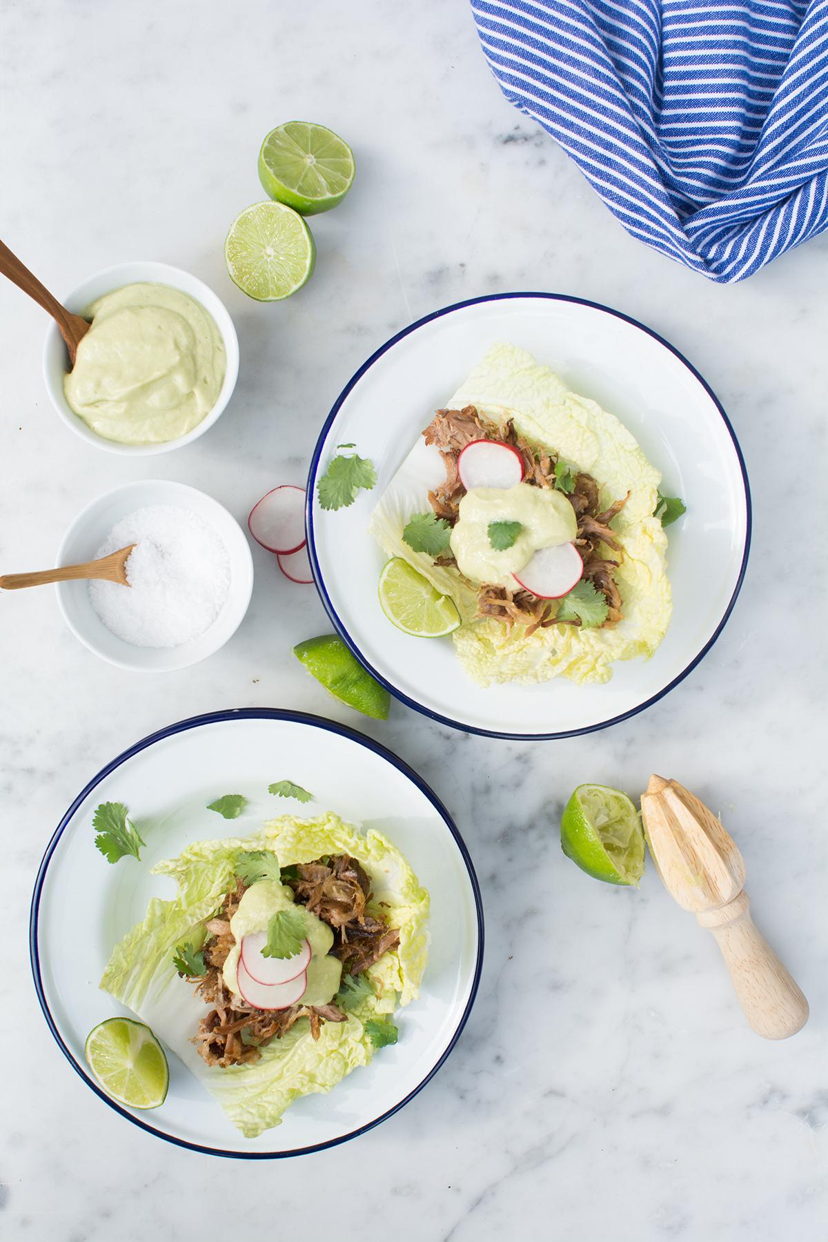 Pork Tacos with Avocado Crema (AIP/Paleo)