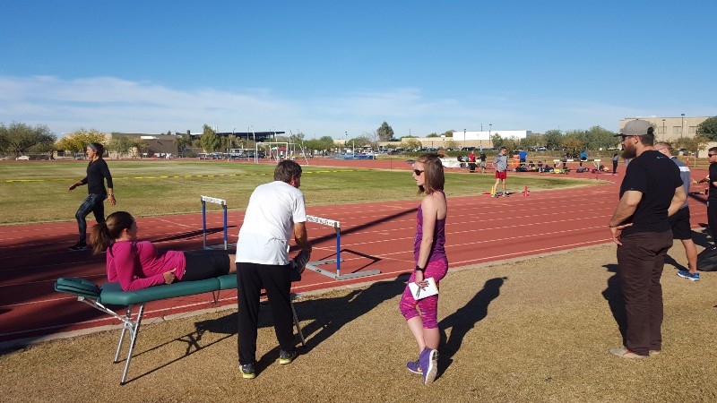 Head sprints and hurdles coach Laura Turner-Alleyne with Altis head coach Dan Pfaff in Phoenix