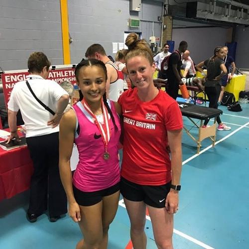 Clieo with WLTF head sprints & hurdles coach -Laura Turner-Alleyne