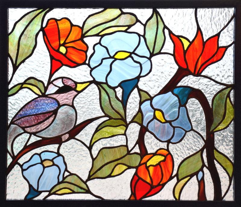 PASSEROTTO (56x47) Vitrail Tiffany Création