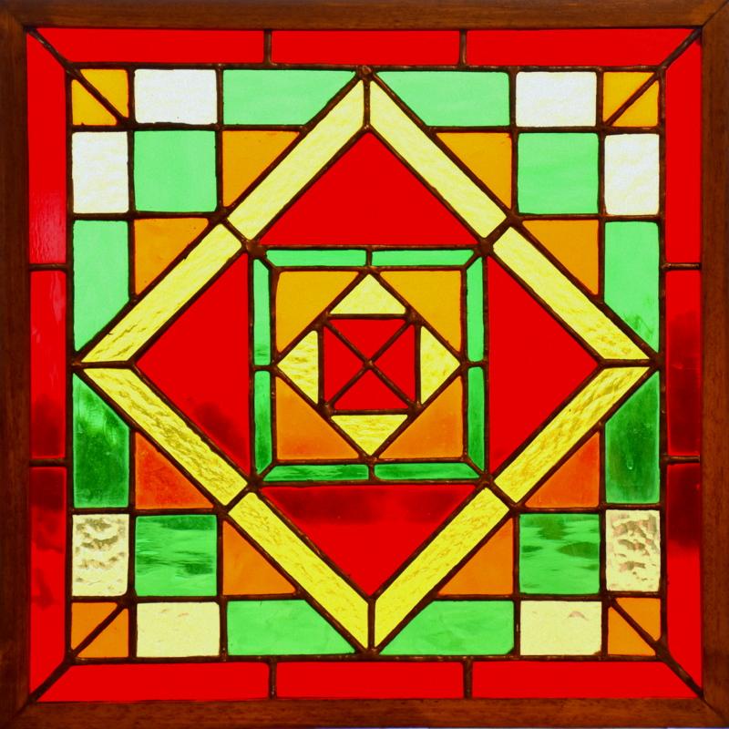 GEOMETRIE (40x40) Création vitrail Tiffany