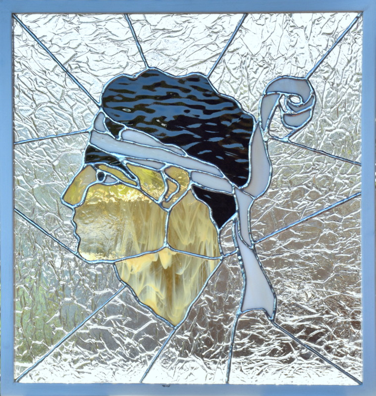 TETE DE MAURE (54X51) création vitrail tiffany