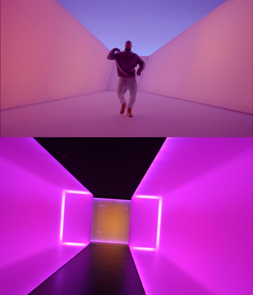 Above: Drake's  Hotline Bling  video. Below: James Turrell's  The Light Inside  (1999) (photo via  eschipul/Flickr ) (via   Hyperallergic  )