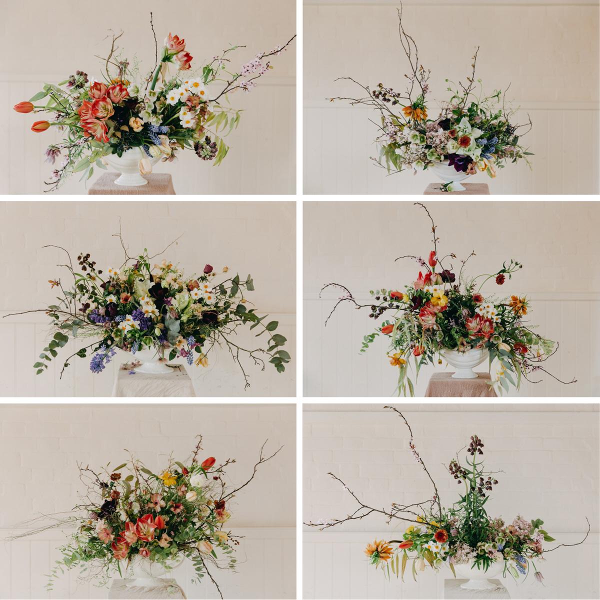 Flowers by (clockwise from top left: Nettlewood Flowers, Louise Langdon, Wild&Co Flowers, Eva Nemeth, SunsnRoses Flowers, Sebastian Conrad  Photos by Eva Nemeth