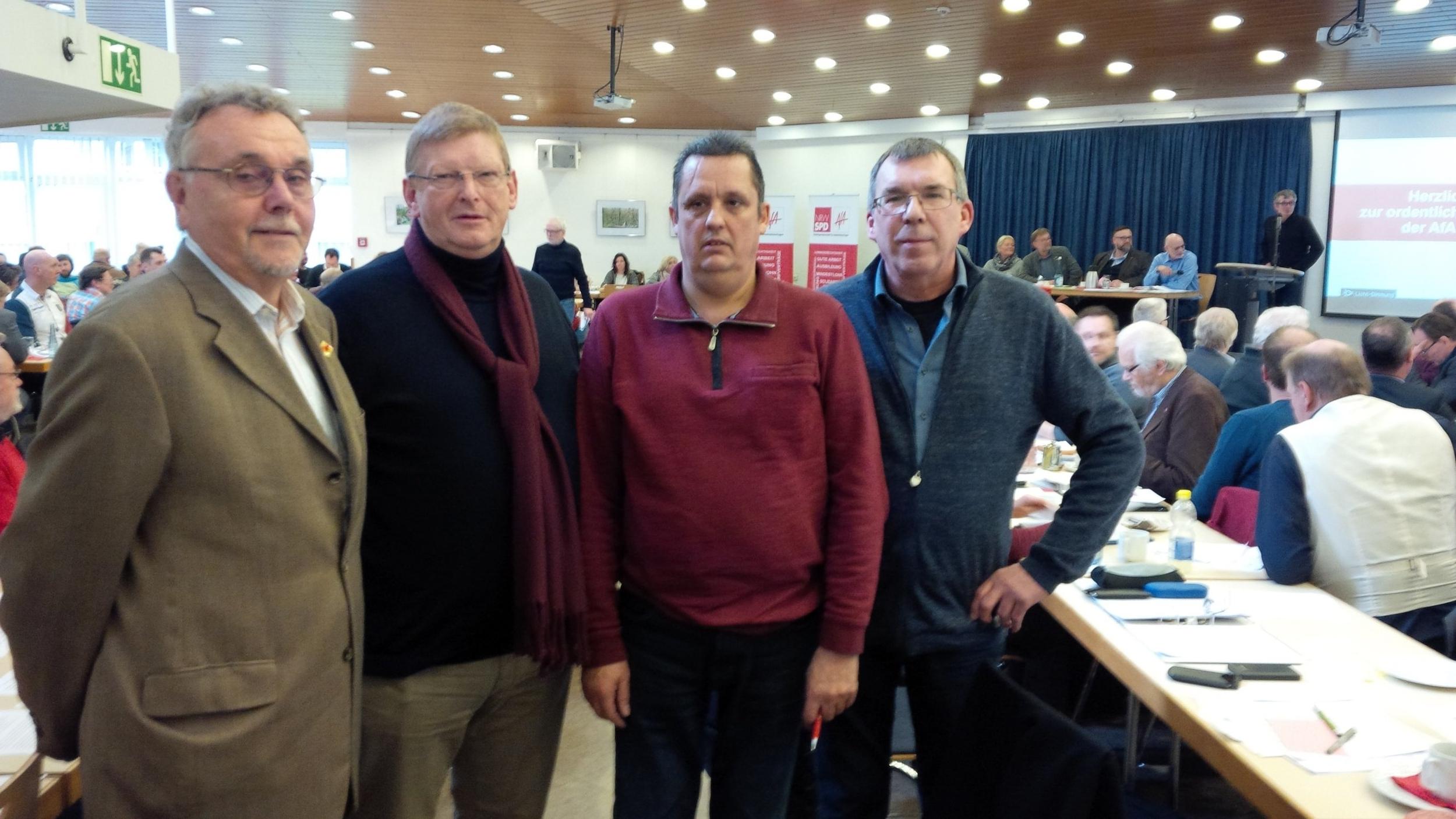 Die Bielefelder AfA-Delegation auf der AfA-Landeskonferenz am 27. Januar 2018 in Gelsenkirchen (von links):  Bernd Lind, Gert Hundt, Andreas Lindenhoven und Reinhard Wellenbrink.  Lindenhoven und Wellenbrink gehören auch der NRW-Delegation zur AfA-Bundeskonferenz vom 27. bis 29. April 2018 in Nürnberg an.