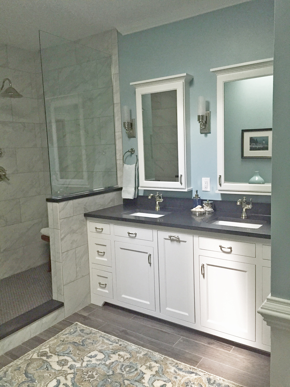 white vanity bathroom remodel