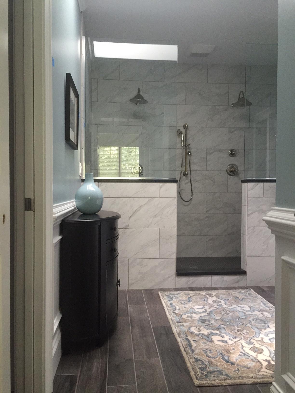 Custom Bathroom Remodel with Shaker Style Inset Doors, Medicine Cabinets, Granite Countertop, Double Shower (Floor & Shower Tiled), Pocket Door & Panel Detail (4 of 4)