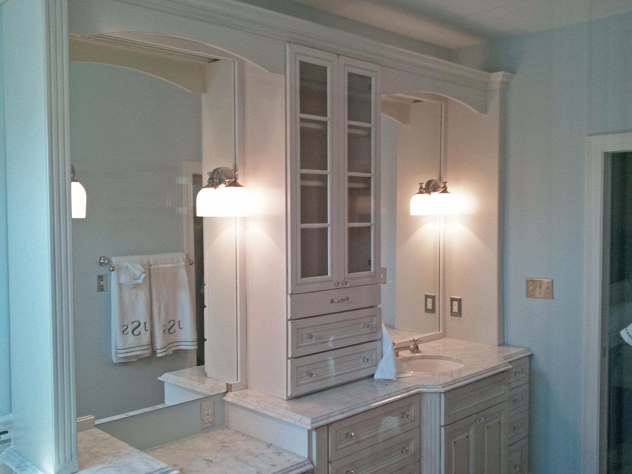 Distressed Vanity with Raised Panel Doors & Drawers (1 of 3)