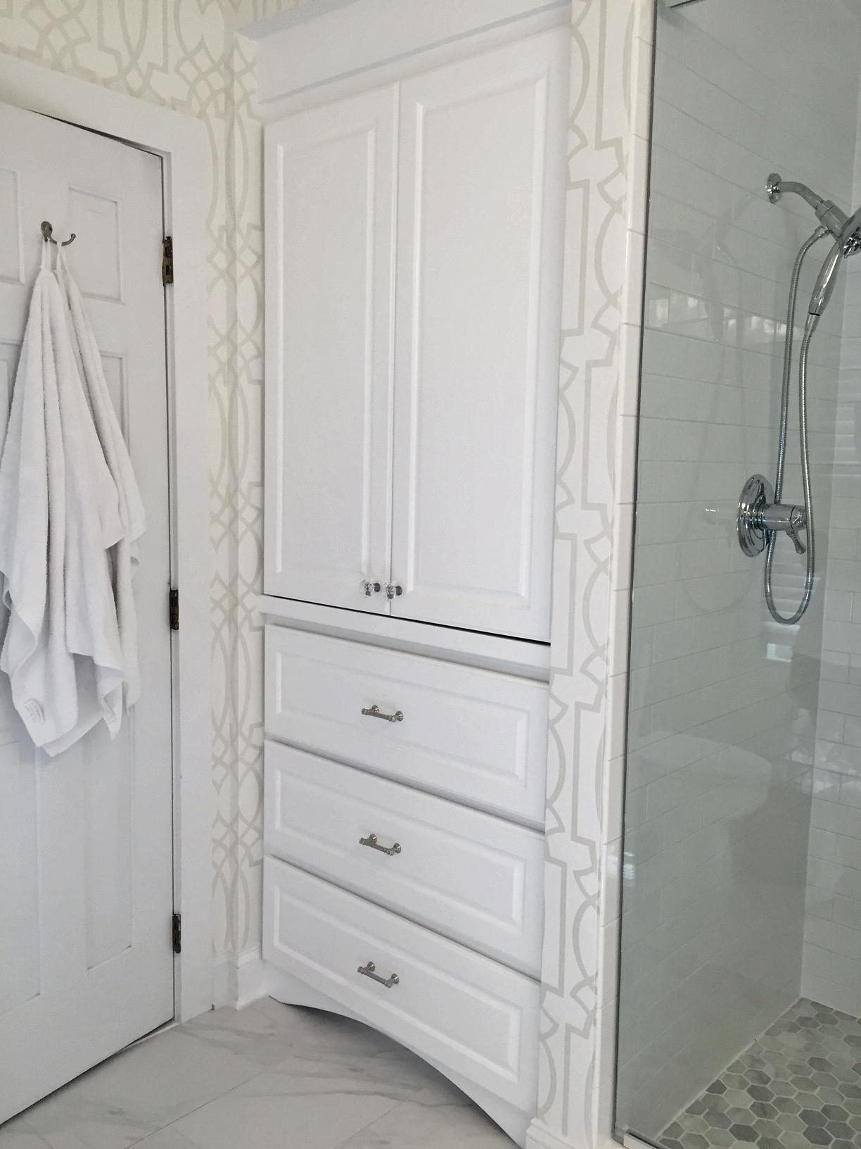 Linen Cabinet with Raised Panel Doors, Drawers & Decorative Toe-Kick