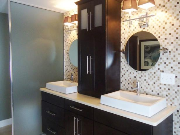 Stain Grade Maple Vanity with Medicine Cabinet