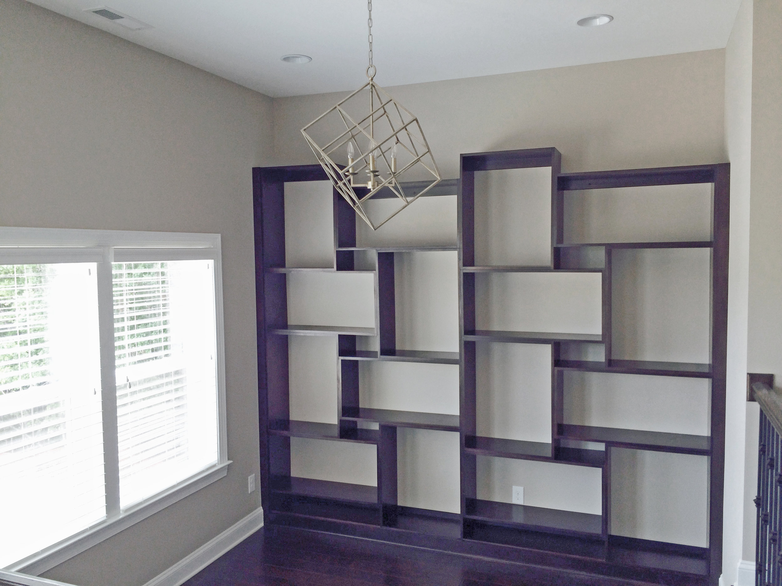 Stained Abstract Maple Bookcase & Shelving