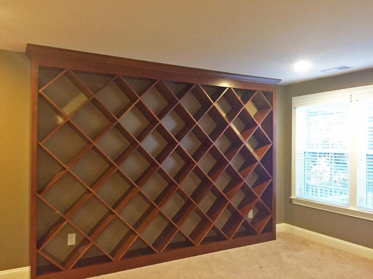 Stained Bookcase with Diagonal Shelves