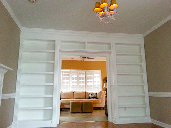Built-In Bookcase with Fluting & Crown Detail