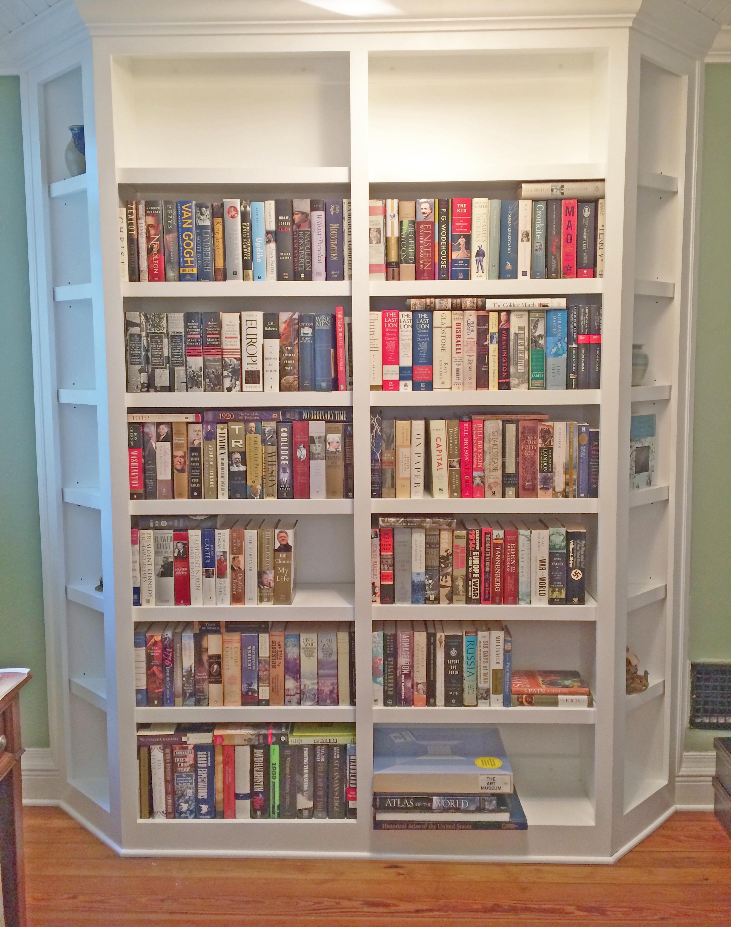 Custom Angled Bookcase with Crown Detail