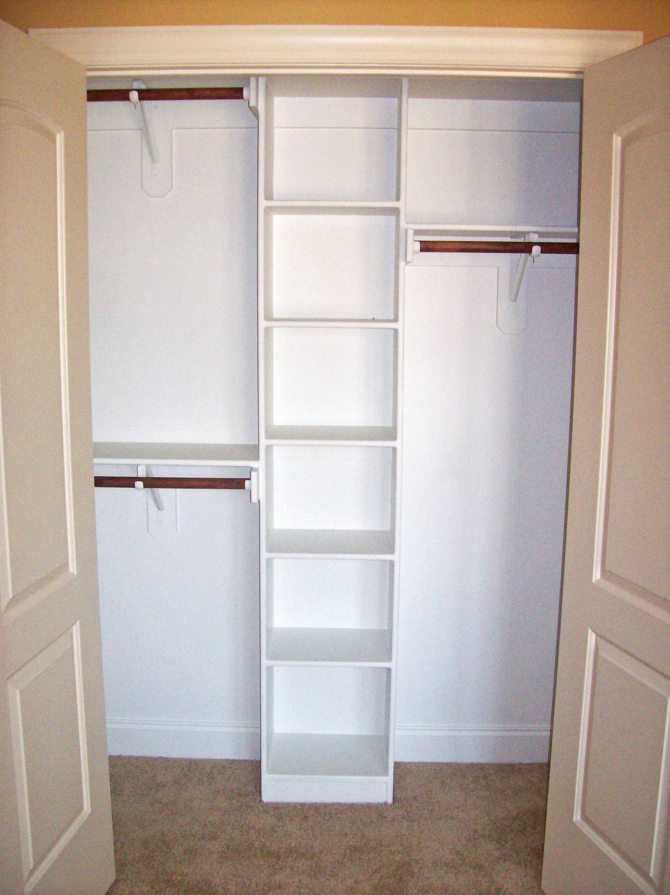 Reach-In Closet with Cubbies, Double Hang, and Long Hang
