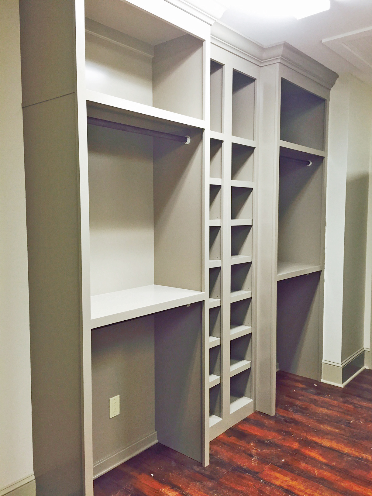 Walk-In Closet with Double Hang & Shelf Above, Cubbies, and Crown