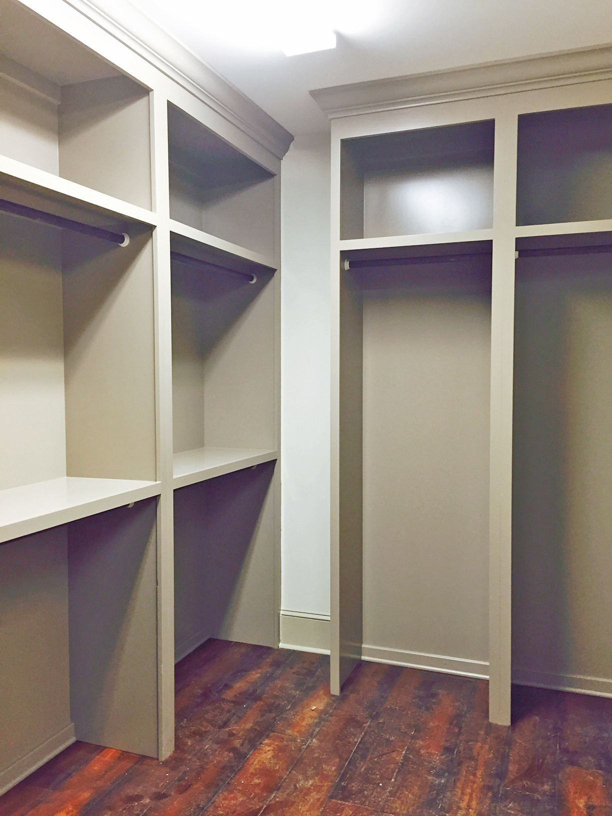 Walk-In Closet with Double Hang & Shelf Above, Long Hang & Shelf Above, and Crown