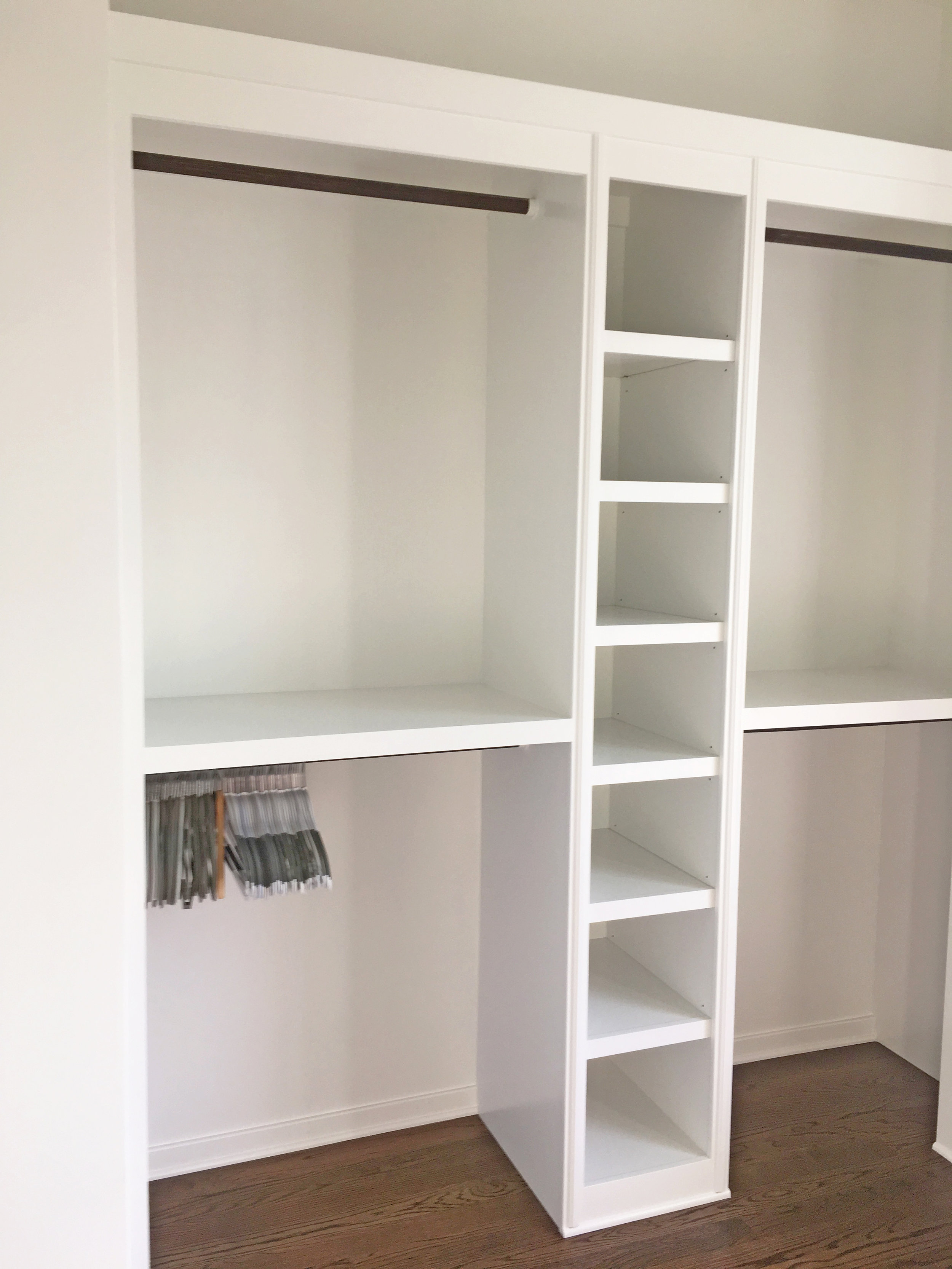 Walk-In Closet with Open Cubbies, Double Hang, Long Hang, and 1-By Crown