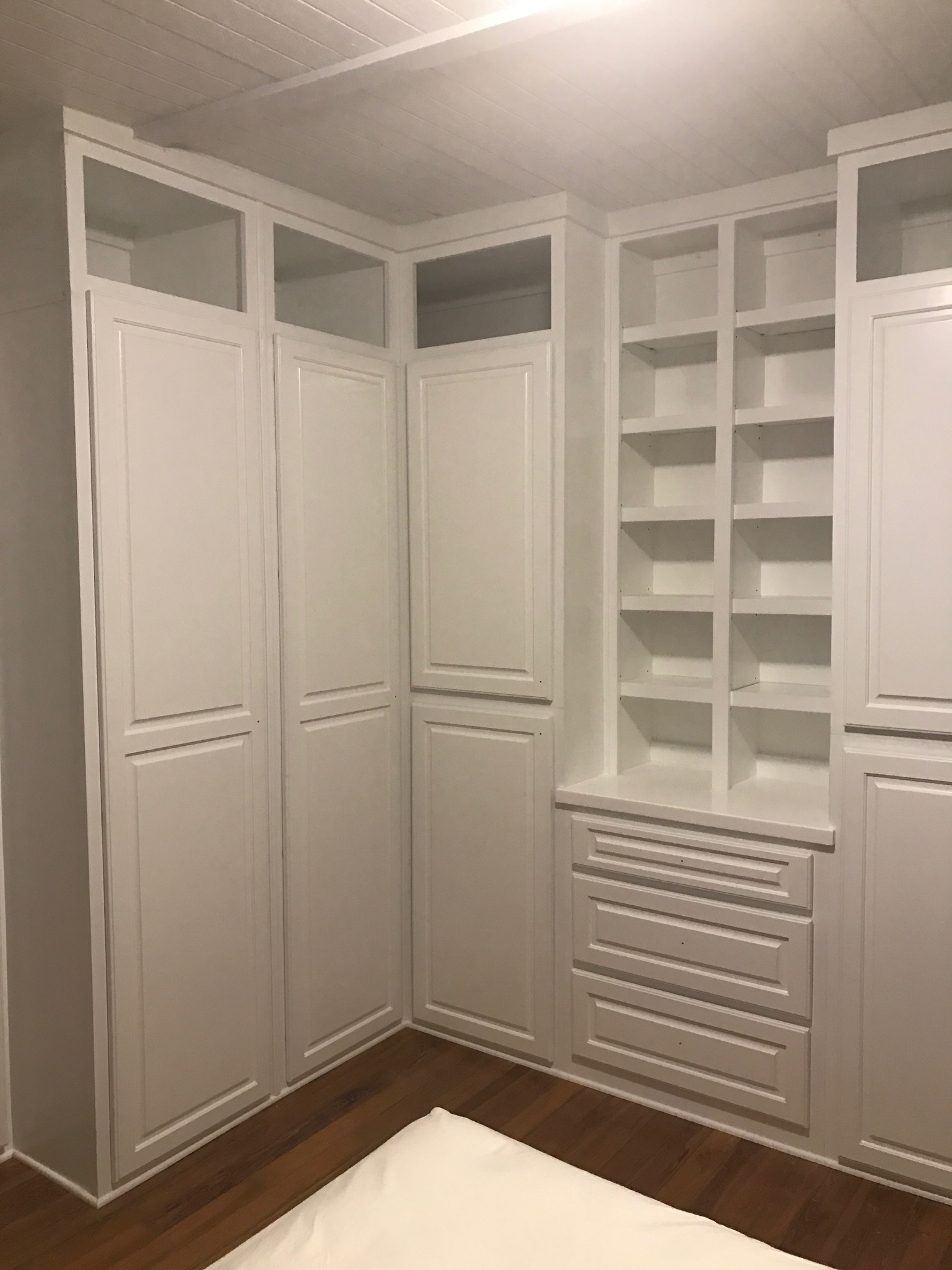 Custom Master Walk-In Closet with Raised Panel Doors, Shoe/Sweater Boxes & Drawers