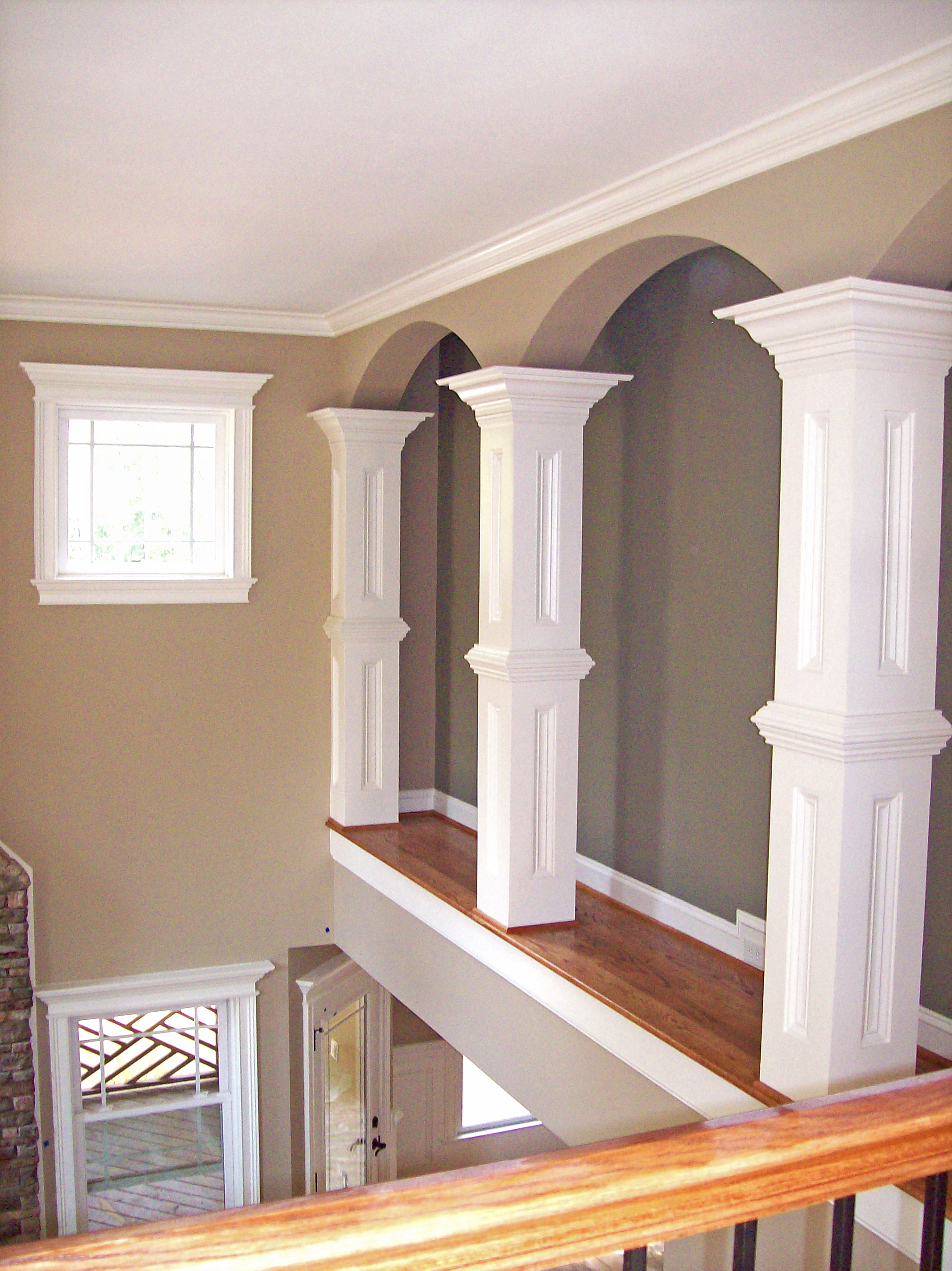 Upstairs Raised Panel Columns with Crown