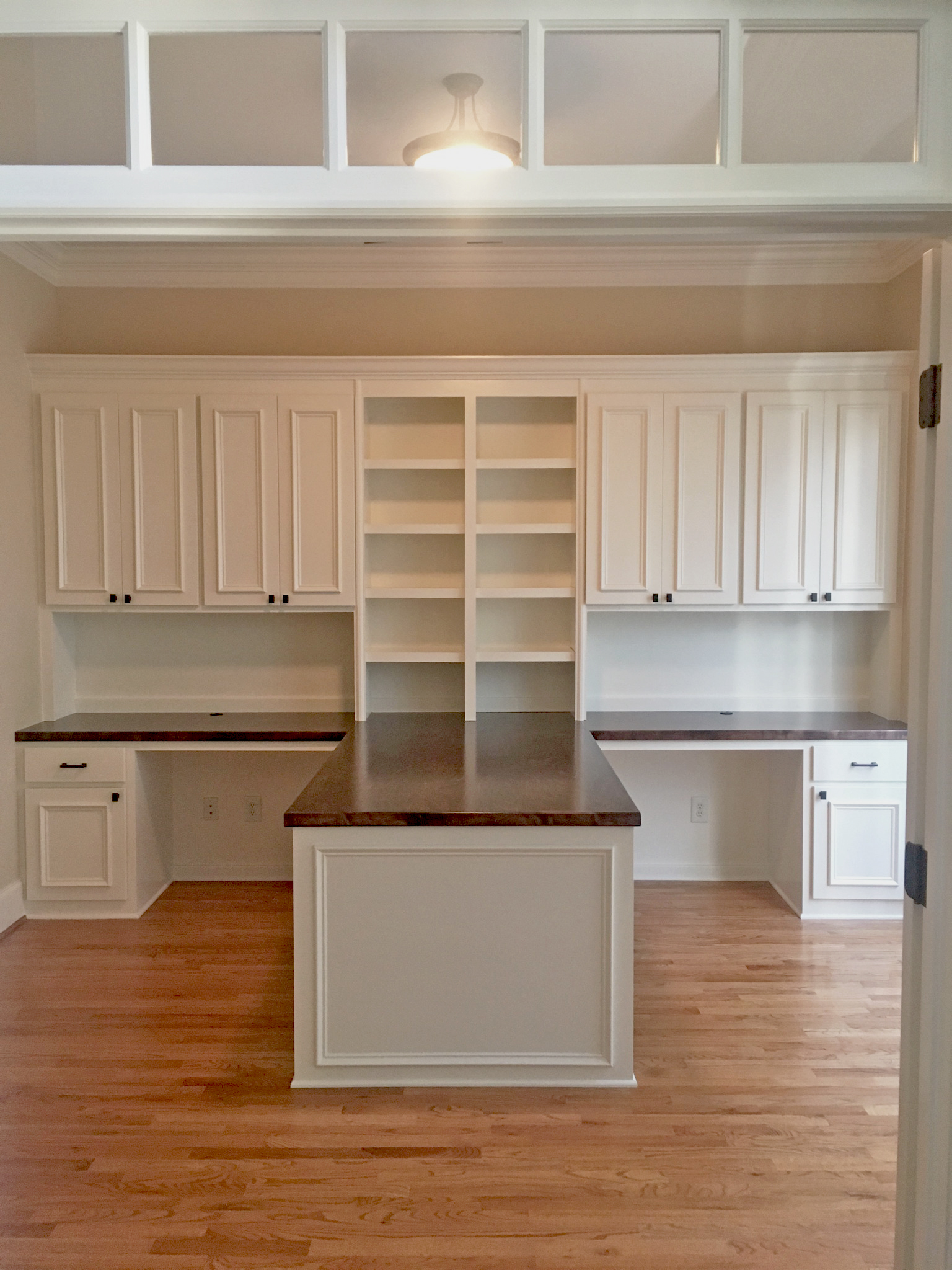 Custom Desk with Adjustable Shelves, Center Island & Applied Panel Doors and Drawers