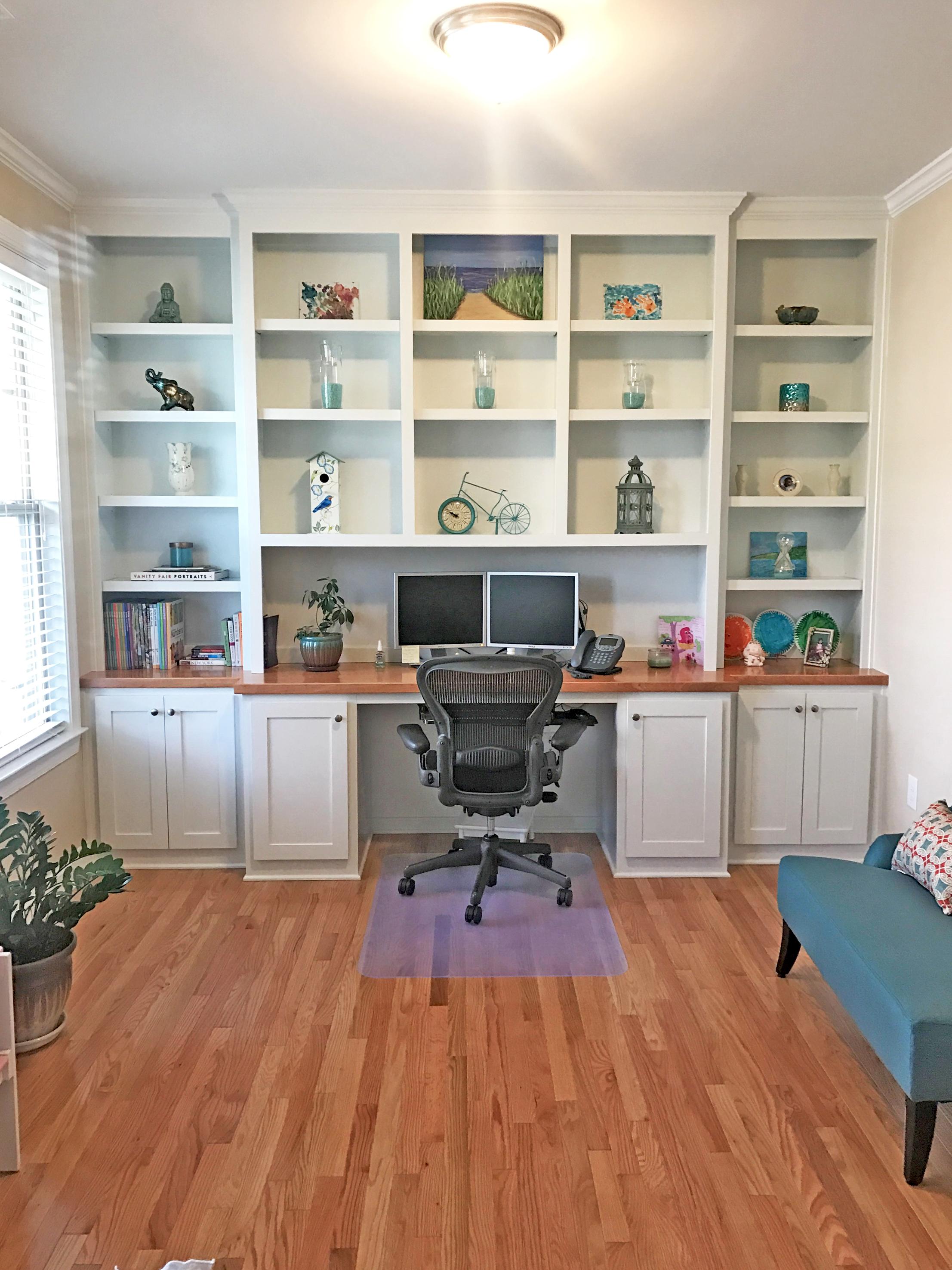 Custom Desk with Adjustable Shelves, Maple Countertop & Shaker Doors
