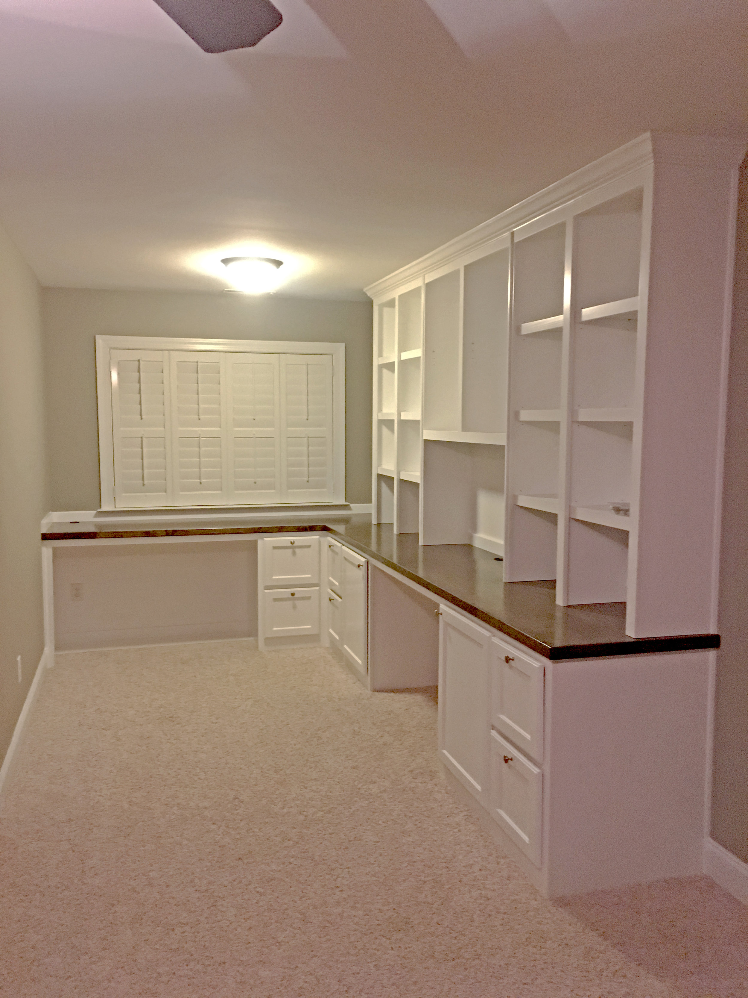 L-shape Double Desk with Filing Drawers, Stain Countertop & Shaker Doors