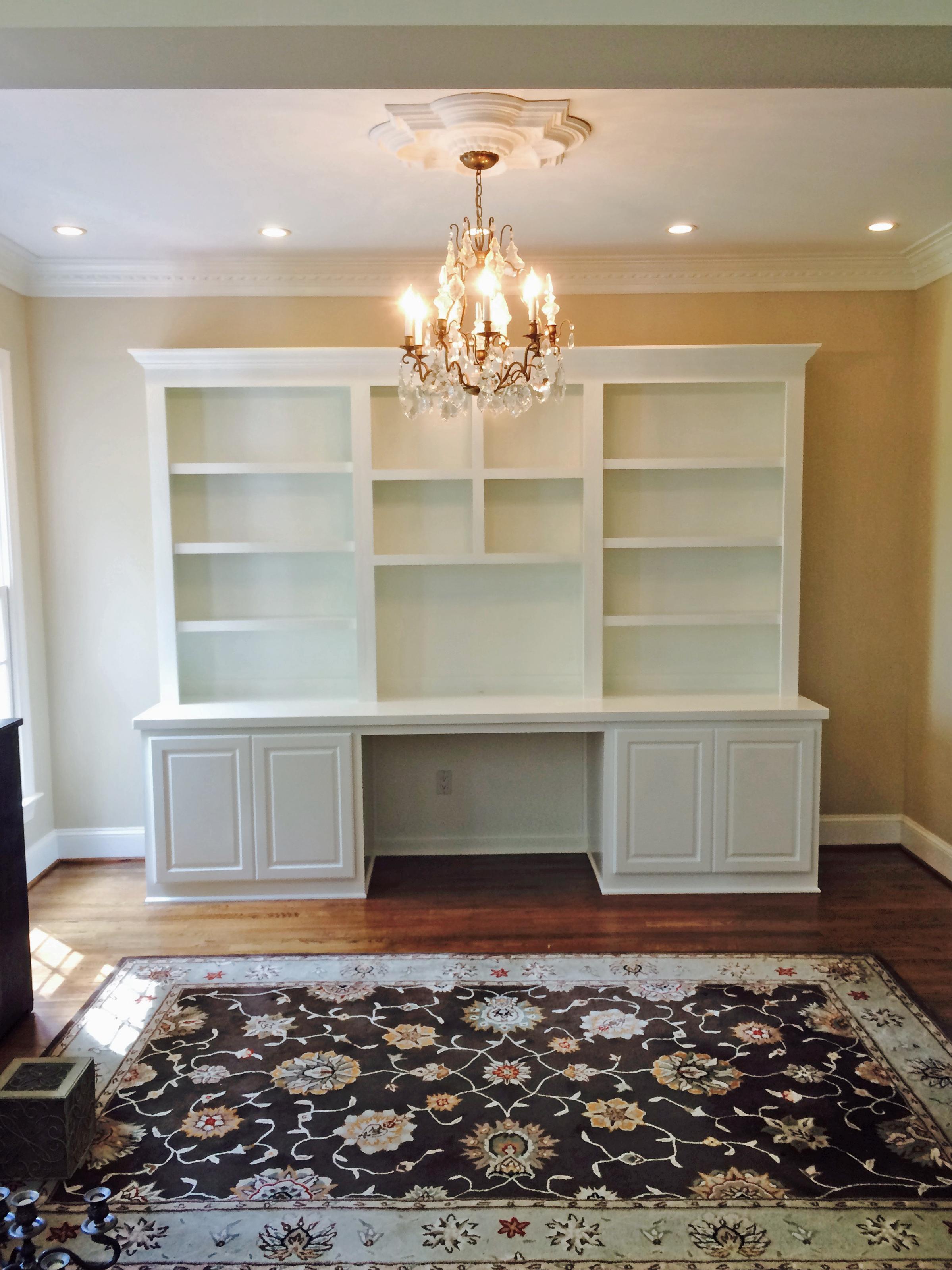 Custom Desk with Raised Panel Doors, Painted Countertop & Adjustable Shelves