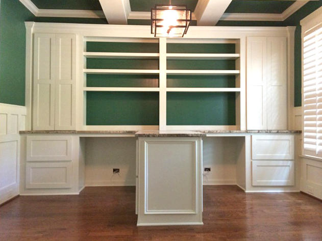 Custom Island Desk with Accent Baking, Upper Shaker Doors, Filing Drawers & End Panel Detail