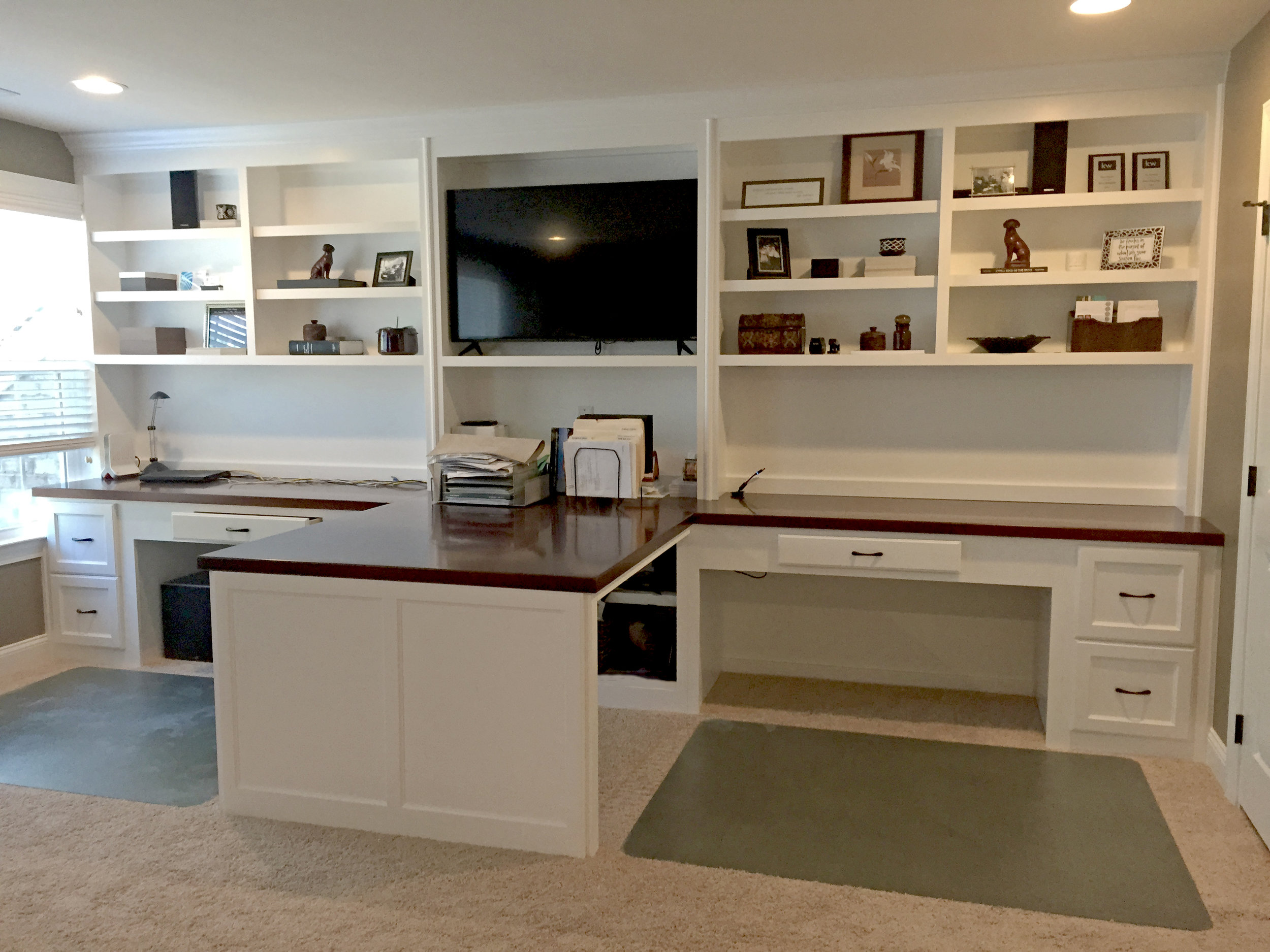 Island Style Custom Desk with Shaker Filing Drawers, Stain Countertop & Adjustable Shelves