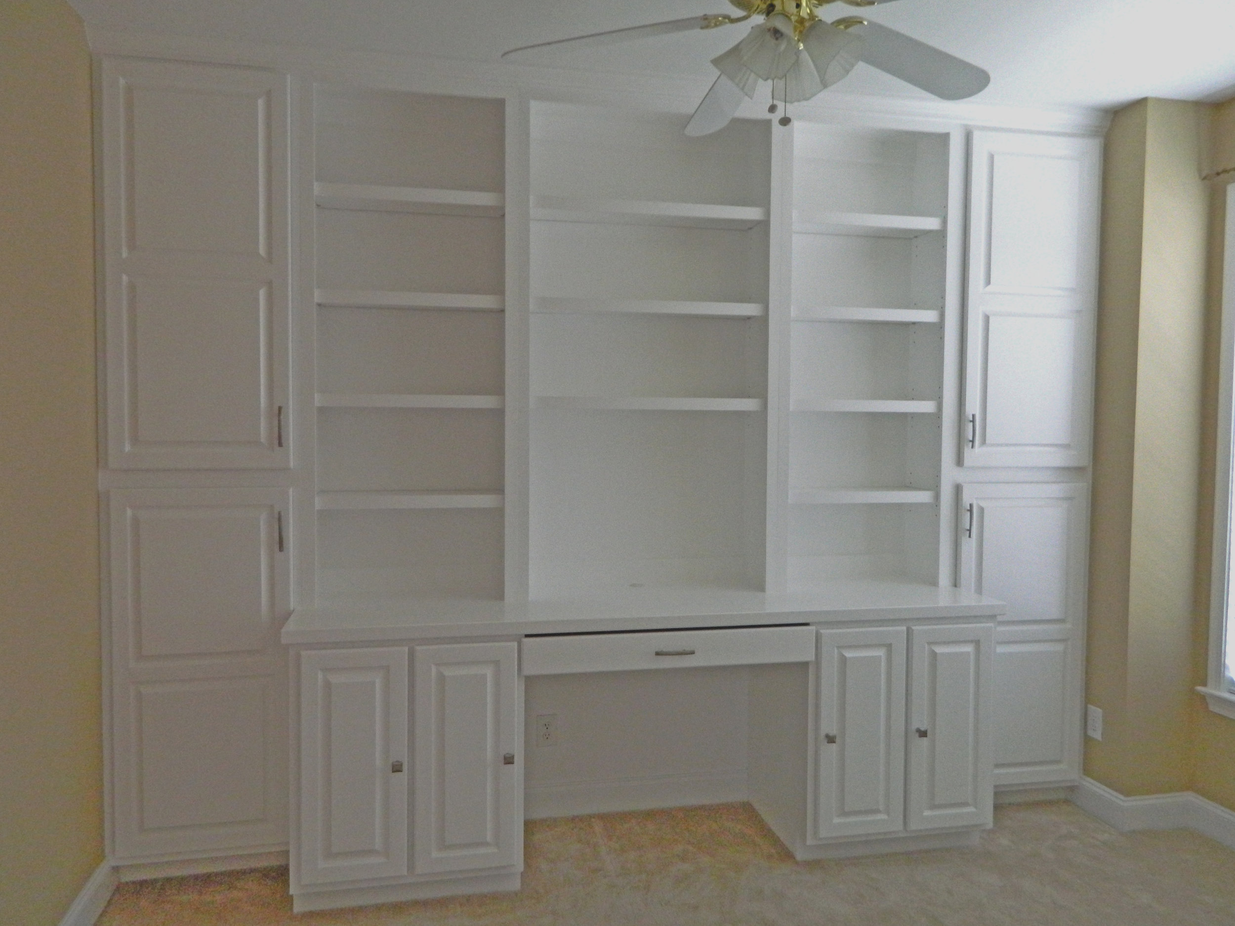 Custom Desk with Raised Panel Doors, Keyboard Pullout, and Painted Countertop