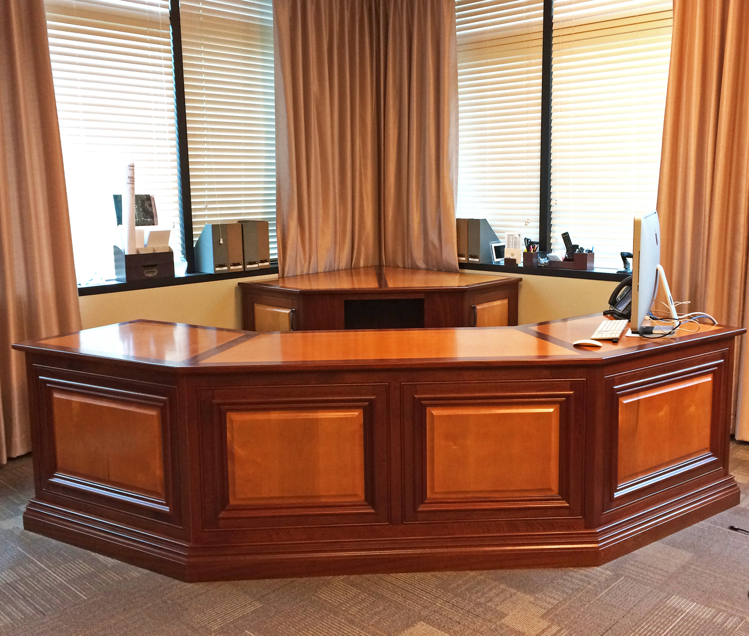 Executive Desk Mahogany & Maple Inlay Countertop & Raised Panel Front Detail