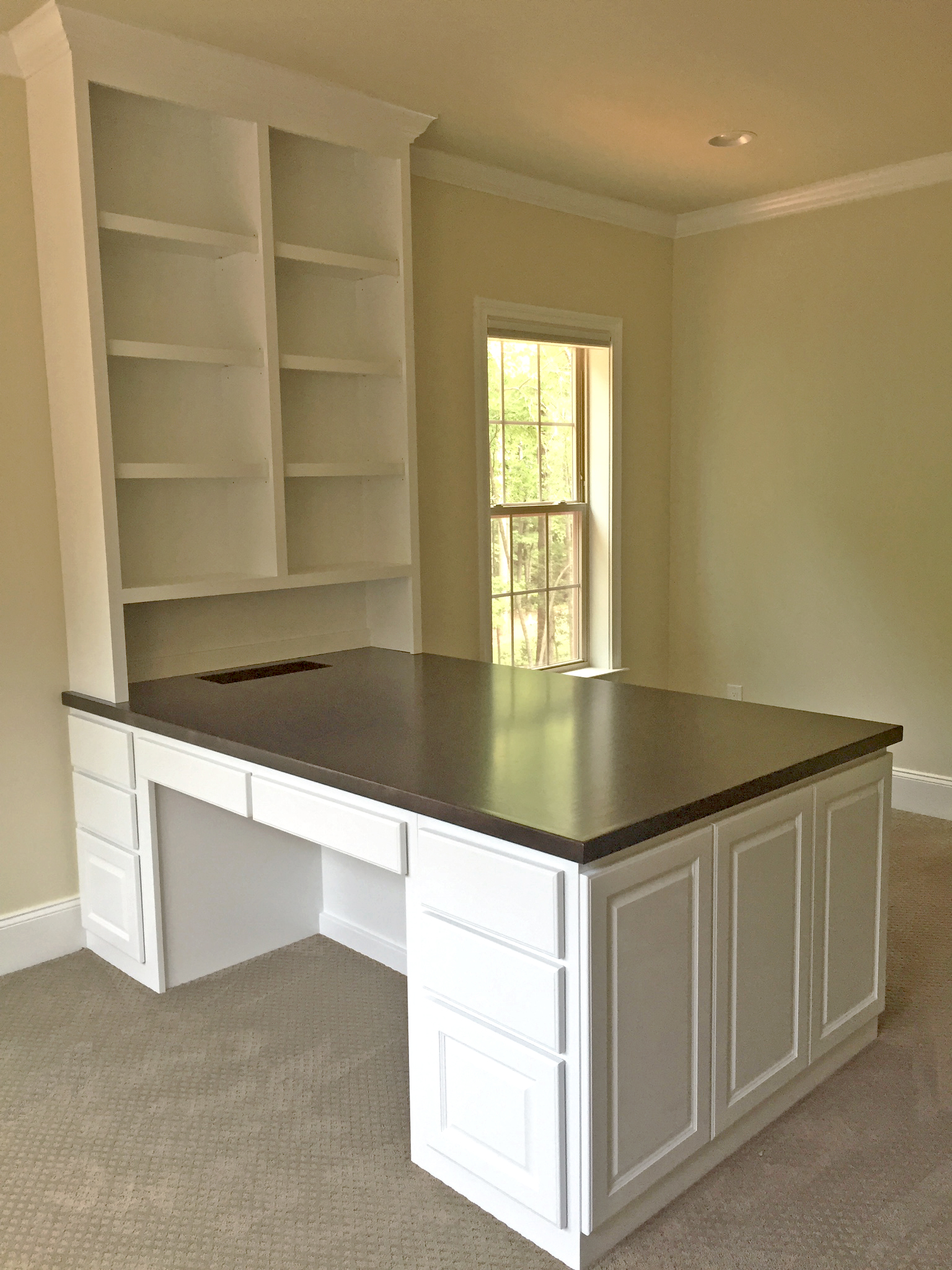 Double Sided Desk with Adjustable Shelves, Stain Maple Countertop, Raised Panel Drawers & End Panel Detail