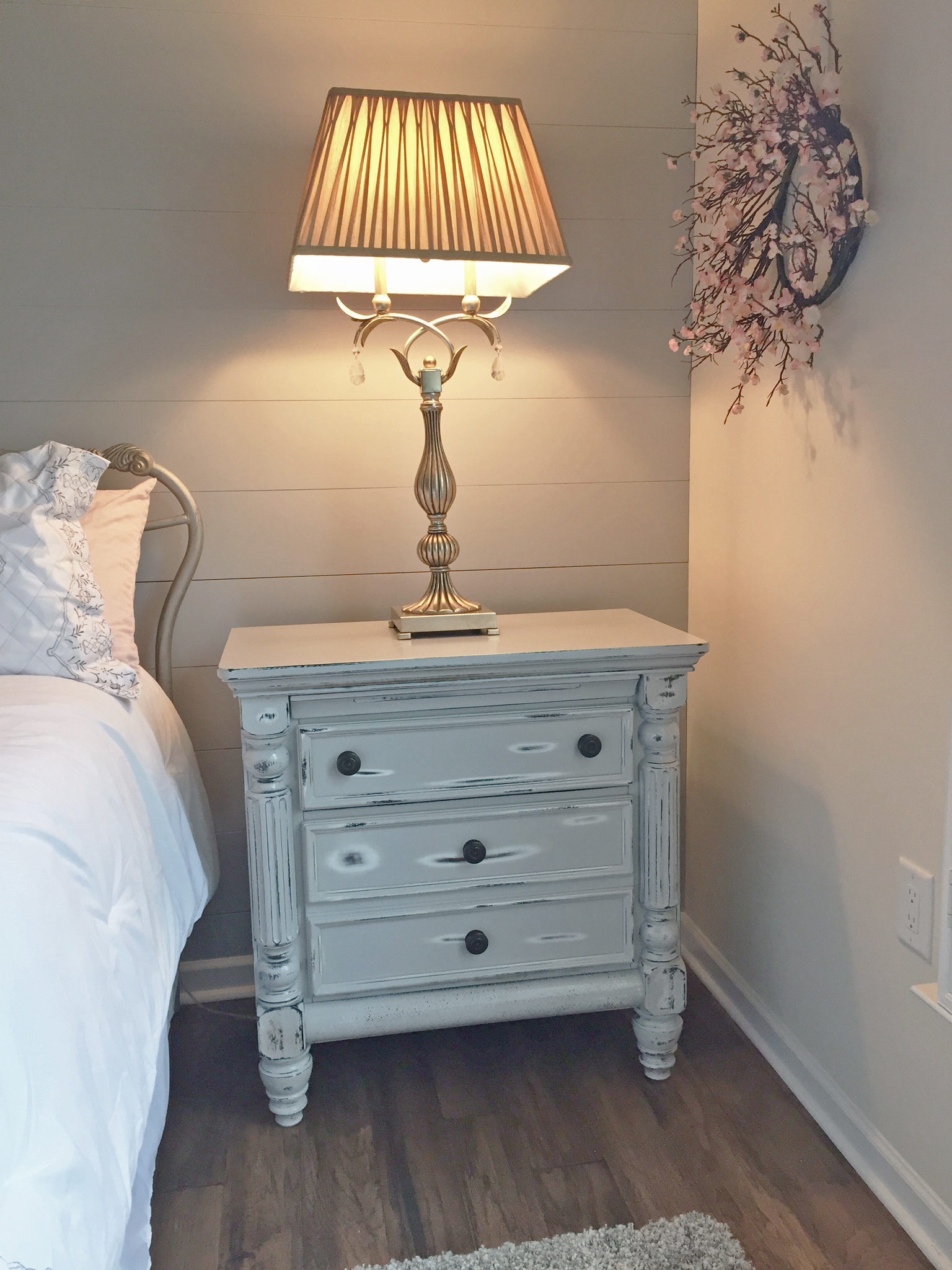 Distressed Bedroom Furniture with Shiplap Wall