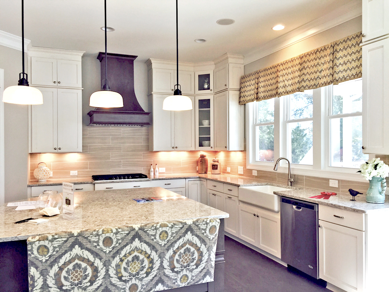 Custom Kitchen with White Cabinets & Stain Island