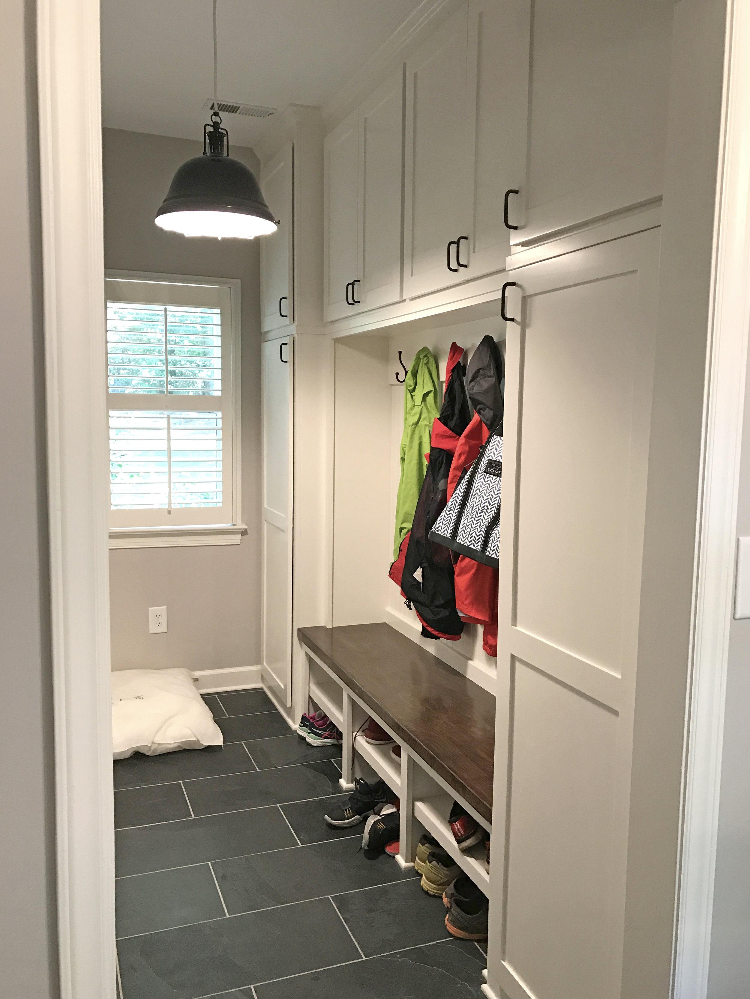 Mud Bench with Shaker Doors, Removable Shelves, Smooth Backer, Stain Tops, and Crown