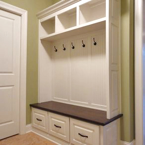 Mud Bench with Beadboard Backer, Raised Panel Drawers, Open Cubbies, and Crown