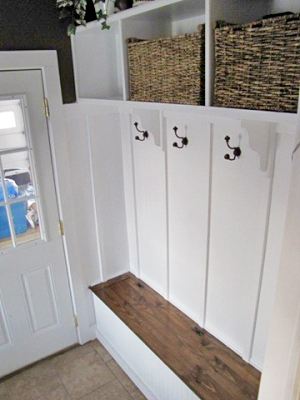 Mud bench with Board & Batten Backer, Open Cubbies, Stain Top, and Crown