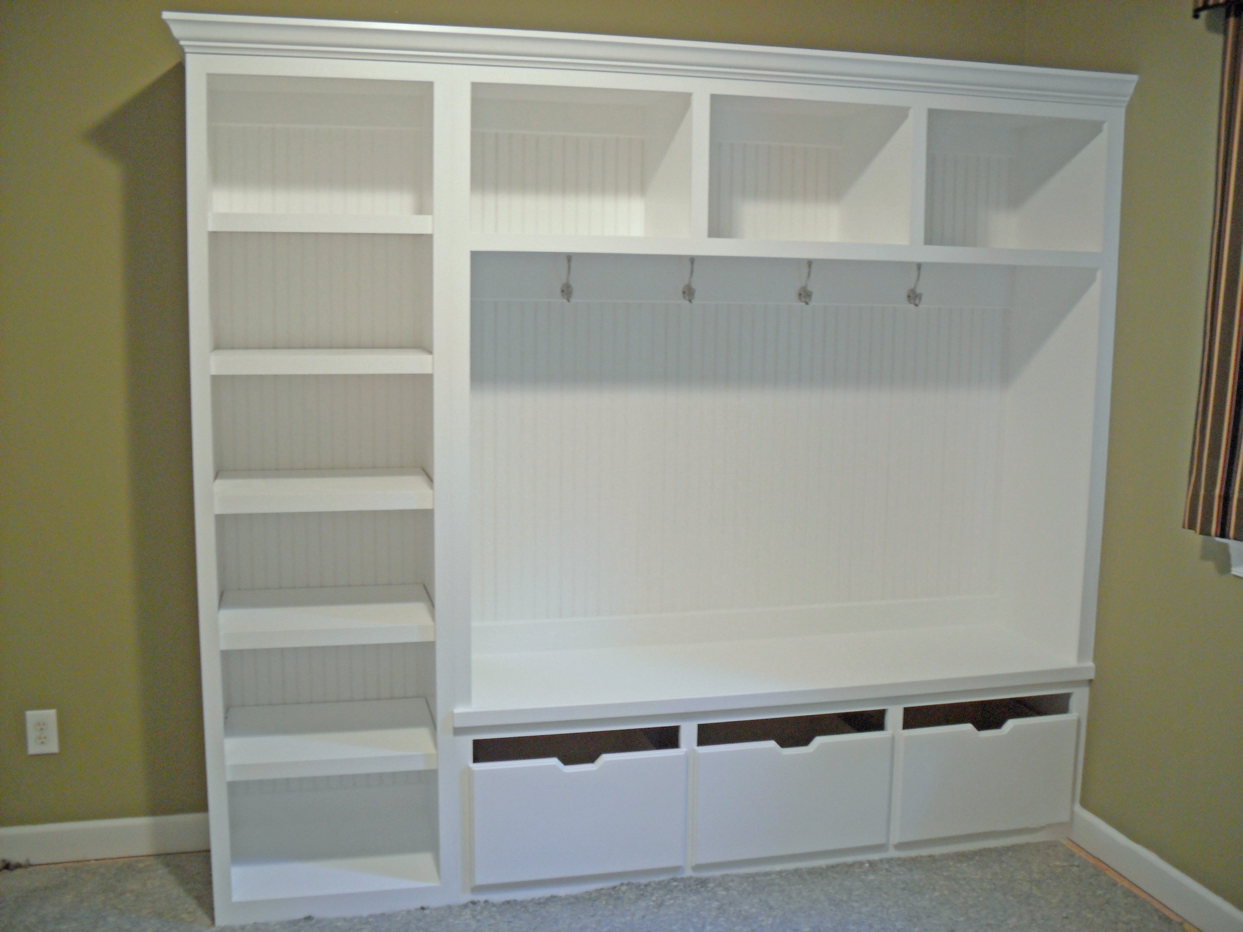 Mud Bench with Beadboard Backer, Adjustable Shelves, Open Cubbies, Pullouts, and Crown