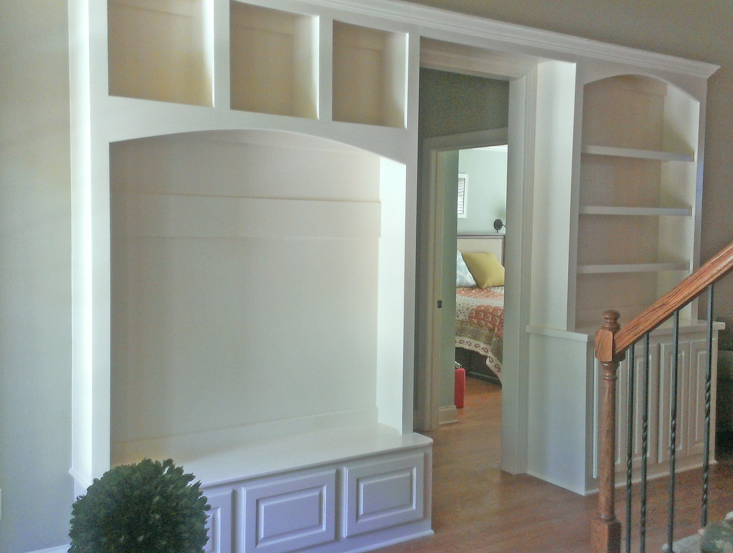 Mud Bench with Smooth Backer, Raised Panel Drawers, Open Cubbies, Arch, and Crown